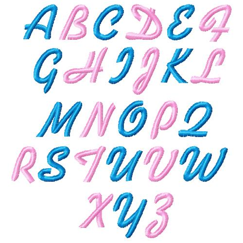 Free 1 inch alphabet included with Free In the hoop Bag