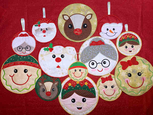 In the hoop Christmas Faces by Cotton-I-Sew