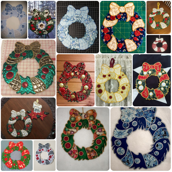 In the hoop Christmas Wreath Samples by Kreative Kiwi Group