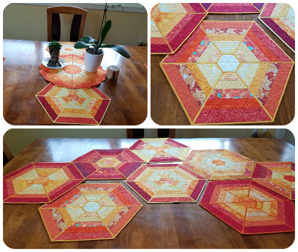 In the hoop Hexagon Placemat samples by Irene