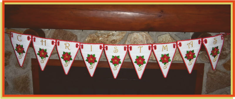 In the hoop Poinsettia Bunting by Sandy - 800