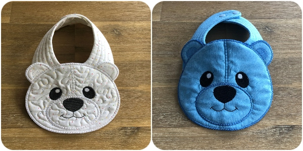 In the hoop Teddy Bear Bib by Kreative Kiwi