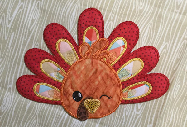 In the hoop Turkey Coaster by Cotton-I-Sew