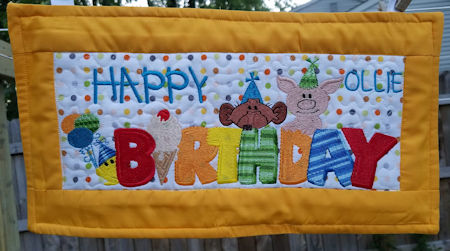 Machine Embroidery Birthday banner