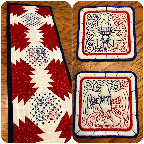 o4 July Table runner and free Coasters