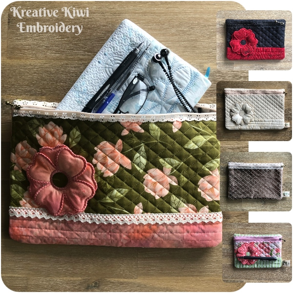In the hoop Lace Zip Bag with 3D Flower by Kreative Kiwi - 600