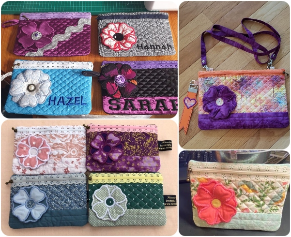 Lace zig bag with 3d Flower samples