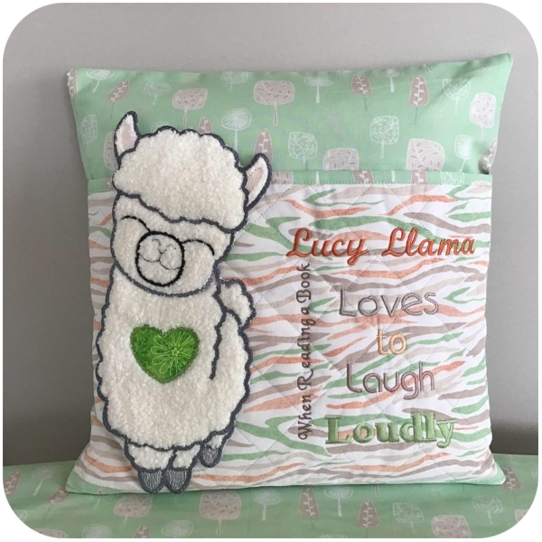Large Applique Llama Reading Pillow by Darina