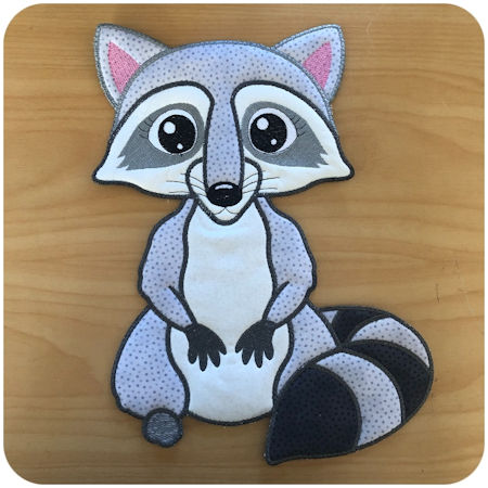 Large Applique Racoon by Kreative Kiwi - 450