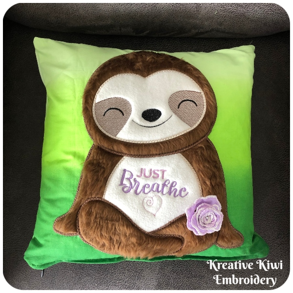 Large Applique Sloth by Kreative Kiwi on Cushion