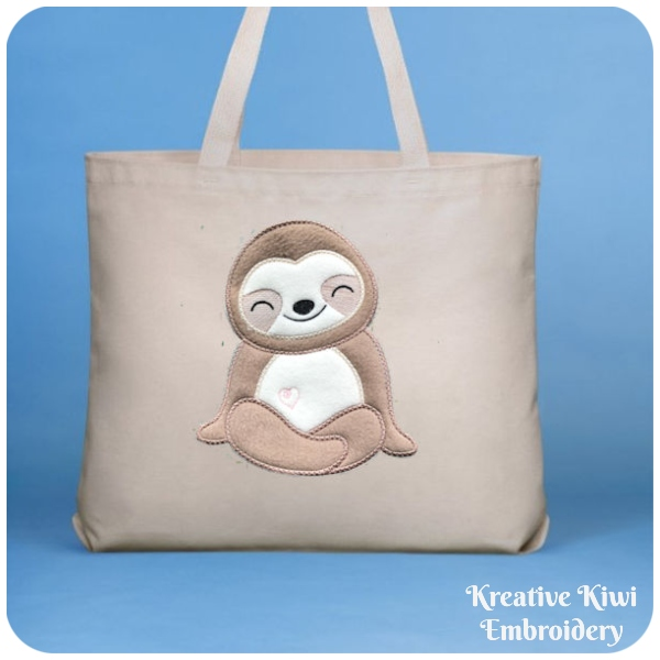 Large Applique Sloth by Kreative Kiwi on Tote Bag