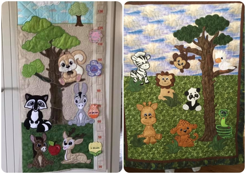 Large Applique Tree samples by Lou and Darina