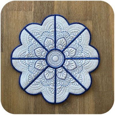 Large Mandala Flower Placemat - 4x4 Hoop A
