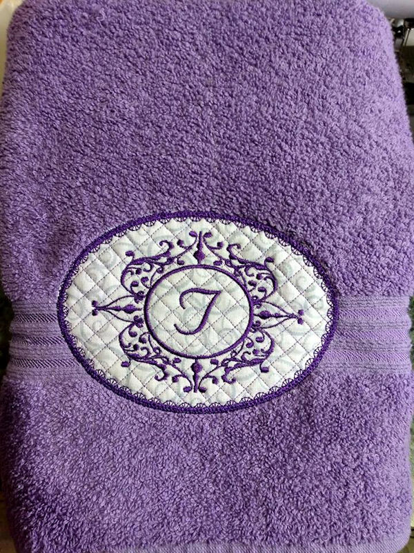 Monogammed towel by Debbie