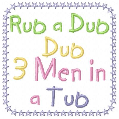 Free Rub a dub dub embroidery design wording
