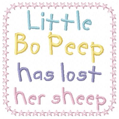 Free Little Bo Peep embroidery design wording