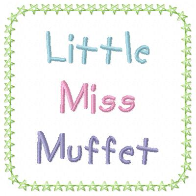 Free Little Miss Muffet  embroidery design wording