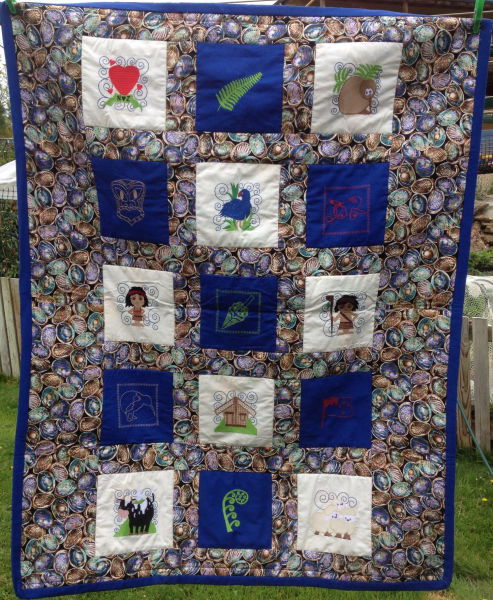 machine embroidery kiwi quilt