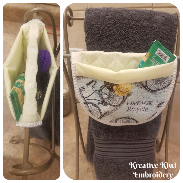 Oven Mitt used as a Bathroom Organiser