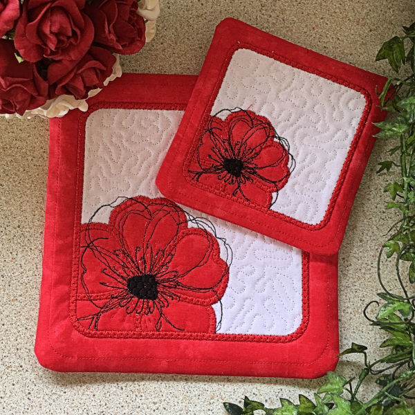 In The Hoop Poppy Coasters Applique Machine Embroidery Design
