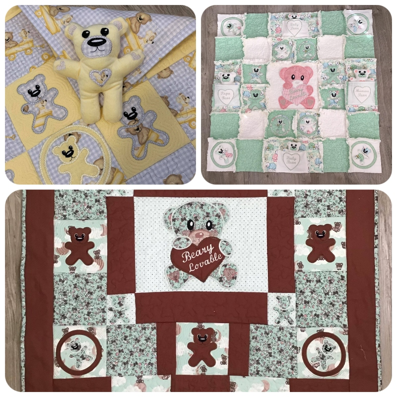 Projects made by Darina with the Teddy Quilt Set