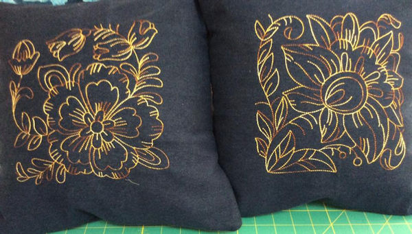 Redwork Floral Blocks by Mary-Lou
