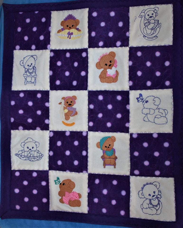 Embroidered Teddy Bear Quilt
