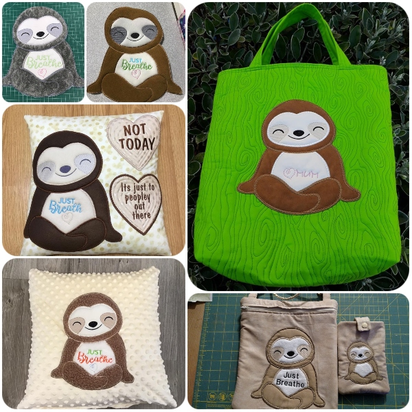 Samples of Large Applique Sloths