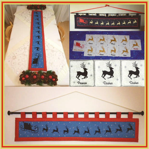 Santas Night Out Table Runner and Coaster set