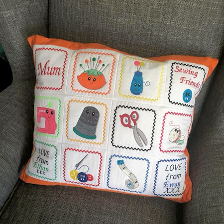 Sewing Friends Cushion stitched by Sue
