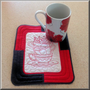 In The Hoop Tea Cup Placemat Applique Machine Embroidery