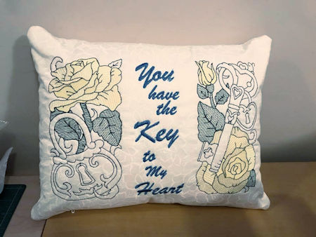 Key to my Heart Free Embroidery Design Cushion