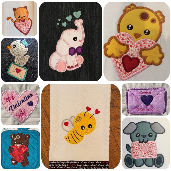 Valentines Animal Applique by Faye - 600