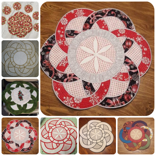 Winners Circle In the hoop Placemat Samples by Kreative Kiwi Group