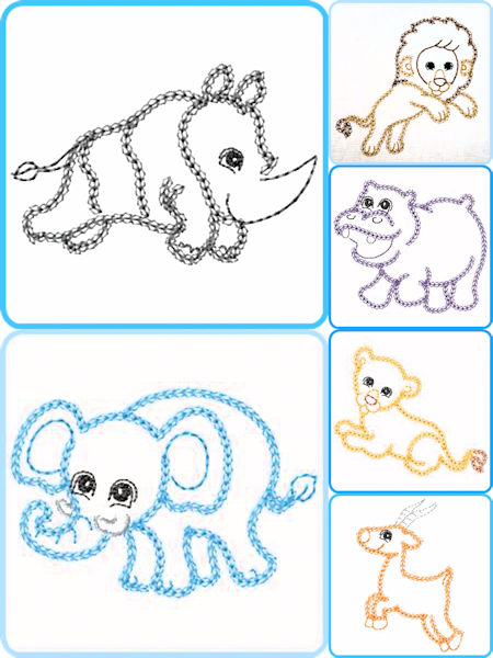 Free Zoo Animal Outline Embroidery Designs