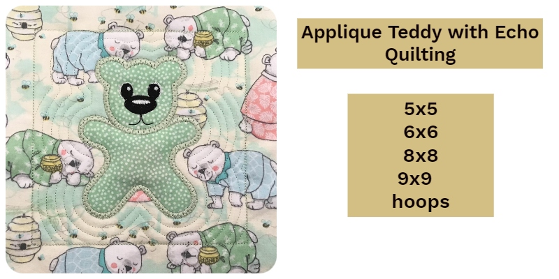 Applque Teddy with Echo Quilting