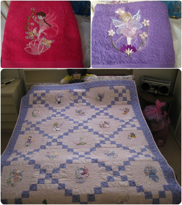 machine embroidery fairy quilt
