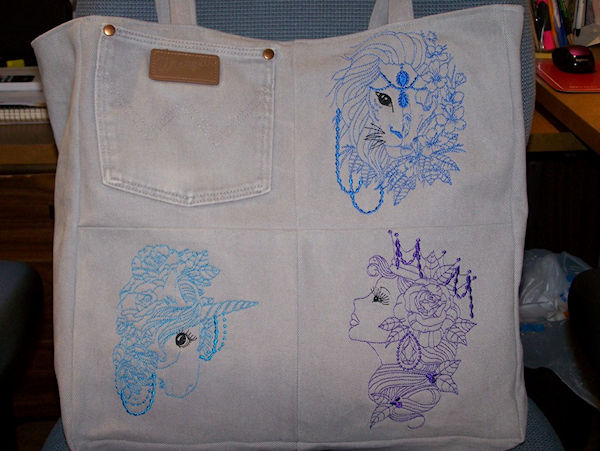 Embroidered Jean Bag