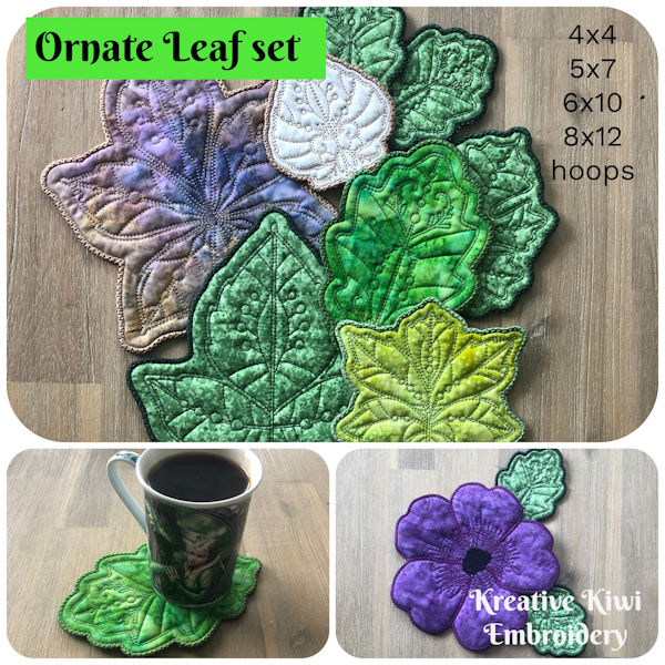 Free Ornate Leaf Coasters In the hoop by Kreative Kiwi - 600