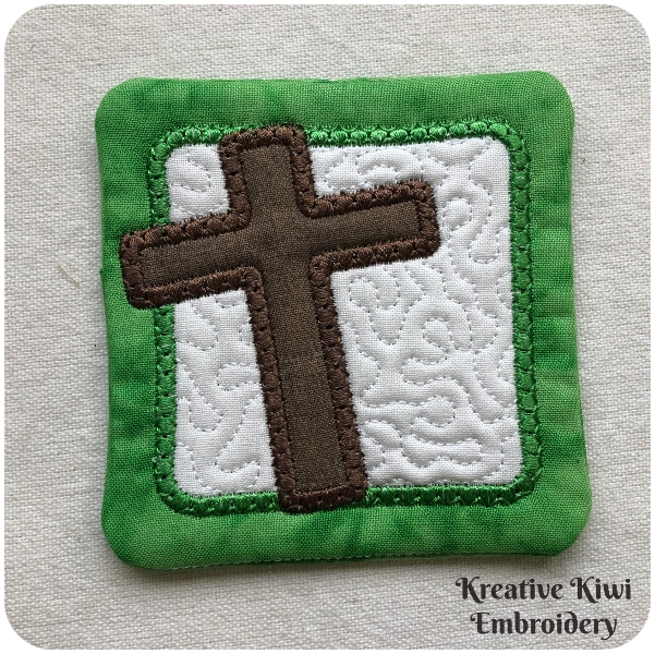 Free Easter Cross Coaster by Kreative Kiwi - 4x4 hoop - 600