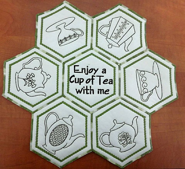 Tea Placemat in the hoop