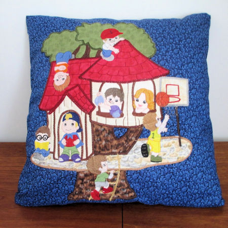 Applique cushion for boys