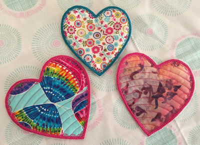In the hoop Heart Coasters