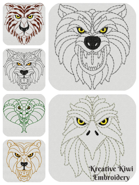 Free Wild Animal Embroidery Designs 4x4 5x5 hoop
