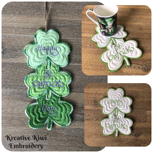In the hoop Shamrock Coaster by Kreative Kiwi - 600