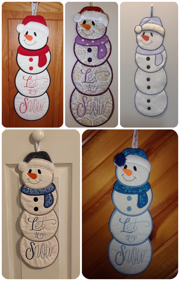 In the hoop Stacked Snowman samples by Kreative Kiwi Group