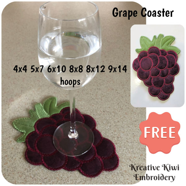 Free In the hoop Grape Coaster by Kreative Kiwi Embroidery - 600