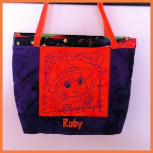 Halloween Bag Redwork Applique Machine Embroidery Design