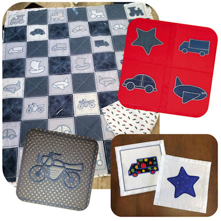 In the hoop Quilt Blocks for Boys