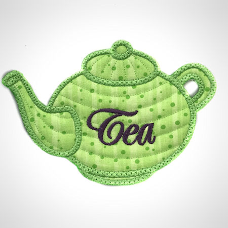 Free In the hoop Teapot Coaster
